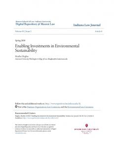 Enabling Investments in Environmental Sustainability