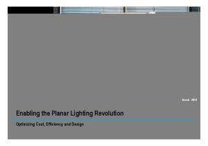 Enabling the Planar Lighting Revolution