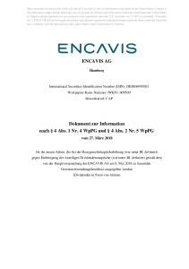 ENCAVIS AG. Dokument zur Information nach 4 Abs. 1 Nr. 4 WpPG und 4 Abs. 2 Nr. 5 WpPG