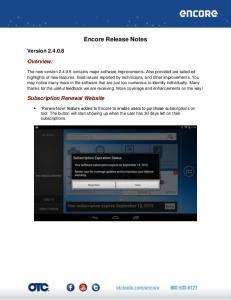 Encore Release Notes