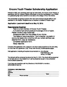 Encore Youth Theater Scholarship Application
