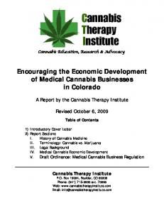 Encouraging the Economic Development of Medical Cannabis Businesses in Colorado