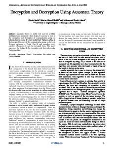Encryption and Decryption Using Automata Theory
