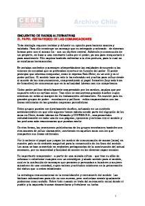 ENCUENTRO DE RADIOS ALTERNATIVAS EL PAPEL ESTRATEGICO DE LAS COMUNICACIONES