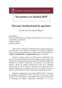 Encuentros en Madrid Discurso institucional de apertura