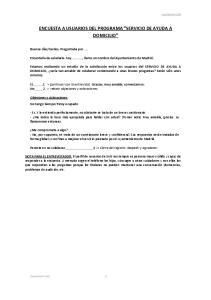 ENCUESTA A USUARIOS DEL PROGRAMA SERVICIO DE AYUDA A DOMICILIO