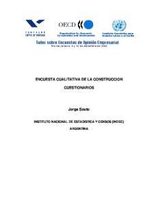 ENCUESTA CUALITATIVA DE LA CONSTRUCCION CUESTIONARIOS. Jorge Souto