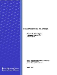 ENCUESTA DE HOGARES POR MUESTREO. Documento Metodológico (Cuestionario EHM ) (2do. Sem. 2012)