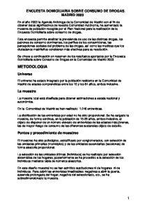 ENCUESTA DOMICILIARIA SOBRE CONSUMO DE DROGAS. MADRID 2003