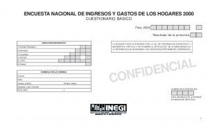 ENCUESTA NACIONAL DE INGRESOS Y GASTOS DE LOS HOGARES 2000 CUESTIONARIO BASICO