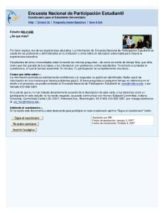 Encuesta Nacional de Participación Estudiantil Cuestionario para el Estudiante Universitario