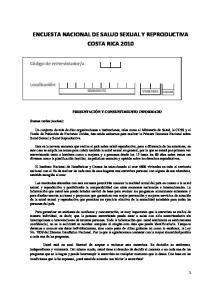 ENCUESTA NACIONAL DE SALUD SEXUAL Y REPRODUCTIVA COSTA RICA 2010