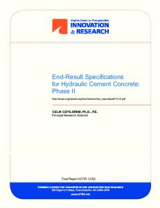 End-Result Specifications for Hydraulic Cement Concrete: Phase II