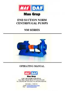 END SUCTION NORM CENTRIFUGAL PUMPS NM SERIES