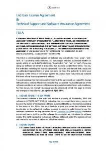 End User License Agreement & Technical Support and Software Assurance Agreement