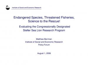 Endangered Species, Threatened Fisheries, Science to the Rescue!