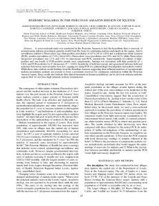 ENDEMIC MALARIA IN THE PERUVIAN AMAZON REGION OF IQUITOS
