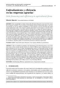 Endeudamiento y eficiencia en las empresas agrarias *