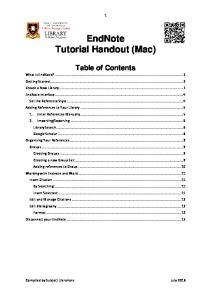 EndNote Tutorial Handout (Mac)