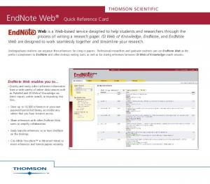 EndNote Web. Quick Reference Card THOMSON SCIENTIFIC