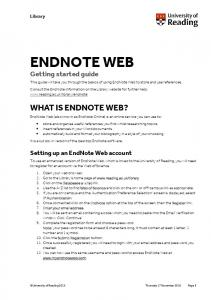 ENDNOTE WEB WHAT IS ENDNOTE WEB? Getting started guide. Setting up an EndNote Web account. Library