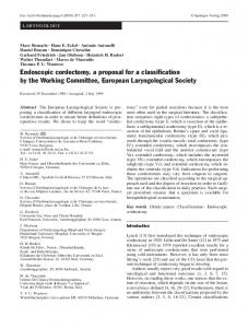 Endoscopic cordectomy. a proposal for a classification by the Working Committee, European Laryngological Society