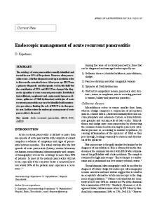 Endoscopic management of acute recurrent pancreatitis