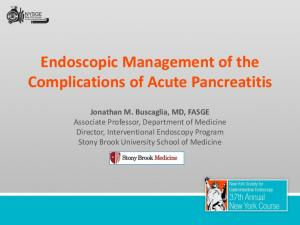 Endoscopic Management of the Complications of Acute Pancreatitis