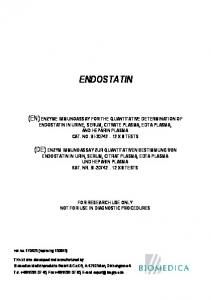 ENDOSTATIN FOR RESEARCH USE ONLY NOT FOR USE IN DIAGNOSTIC PROCEDURES. rev.no (replacing )