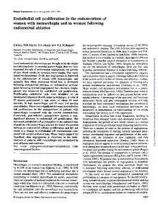Endothelial cell proliferation in the endometrium of women with menorrhagia and in women following endometrial ablation