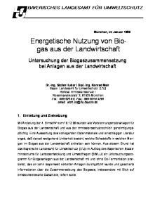 Energetische Nutzung von Biogas aus der Landwirtschaft