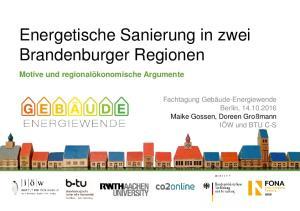 Energetische Sanierung in zwei Brandenburger Regionen