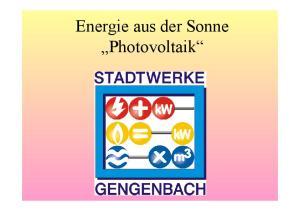 Energie aus der Sonne Photovoltaik