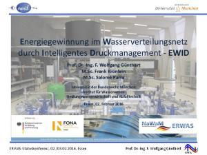 Energiegewinnung im Wasserverteilungsnetz durch Intelligentes Druckmanagement - EWID