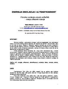 ENERGIJA OSCILACIJA I ULTRAEFIKASNOST