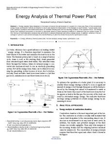 Energy Analysis of Thermal Power Plant