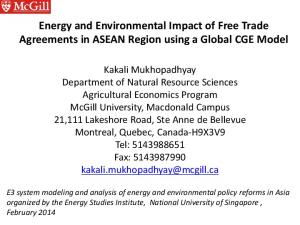 Energy and Environmental Impact of Free Trade Agreements in ASEAN Region using a Global CGE Model