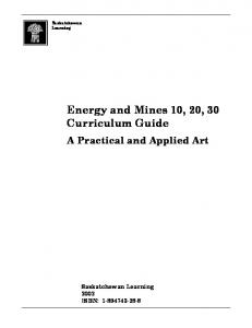 Energy and Mines 10, 20, 30 Curriculum Guide