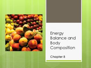 Energy Balance and Body Composition. Chapter 8
