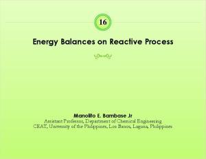 Energy Balances on Reactive Process