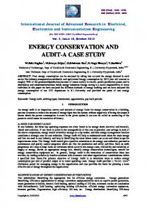 ENERGY CONSERVATION AND AUDIT-A CASE STUDY