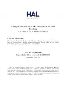 Energy Consumption And Conservation In Food Retailing