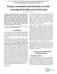 Energy consumption and Economic Growth: Assessing the Evidence from Sri Lanka