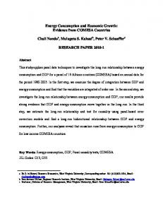 Energy Consumption and Economic Growth: Evidence from COMESA Countries RESEARCH PAPER