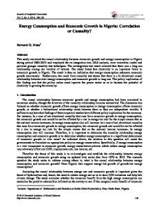 Energy Consumption and Economic Growth in Nigeria: Correlation or Causality?