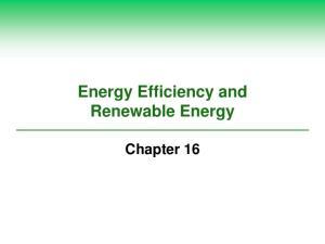 Energy Efficiency and Renewable Energy. Chapter 16