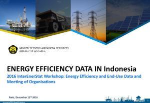 ENERGY EFFICIENCY DATA IN Indonesia 2016 InterEnerStat Workshop: Energy Efficiency and End-Use Data and Meeting of Organisations