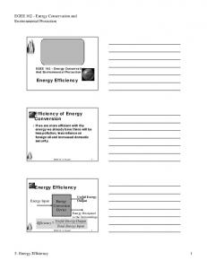 Energy Efficiency. Efficiency of Energy Conversion. Energy Efficiency. EGEE Energy Conservation and Environmental Protection