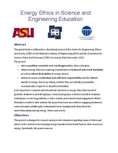 Energy Ethics in Science and Engineering Education