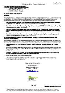 Energy Focus, Inc Aurora Road, Suite B Solon, OH (800)